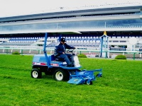 Mowing the turf course